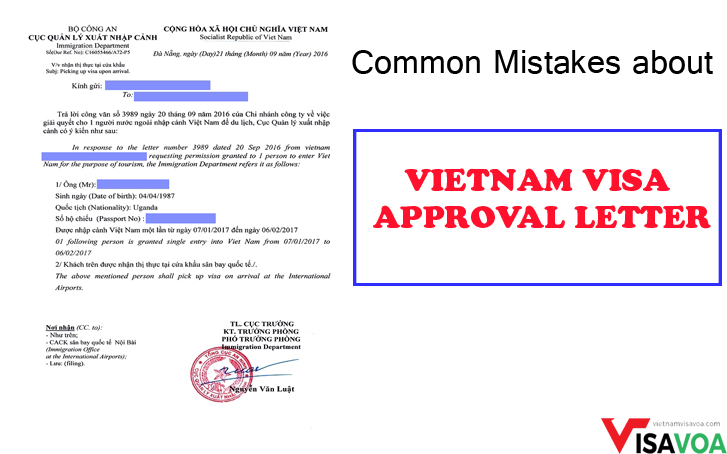 Common mistakes related to Vietnam visa approval letter