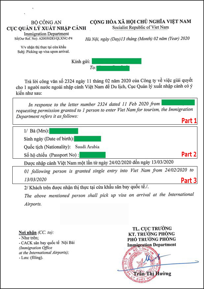 Vietnam visa approval letter sample