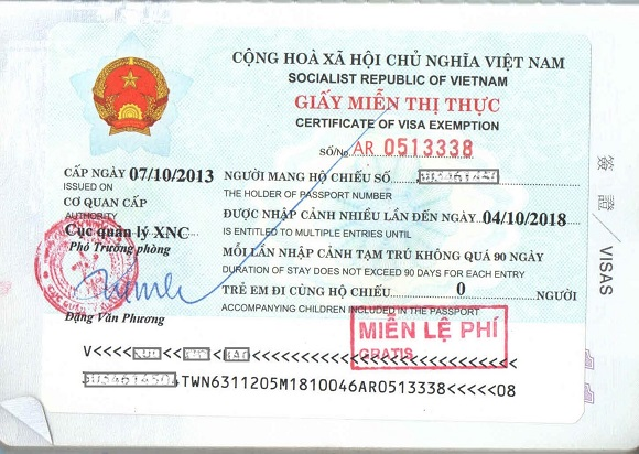 Vietnam visa exemption certificate - vietnamvisavoa.com